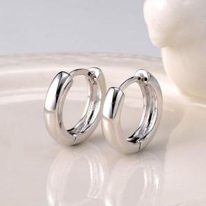 Jewelry - 18K White Gold GF Hoop Huggie Earrings 14 x 4mm